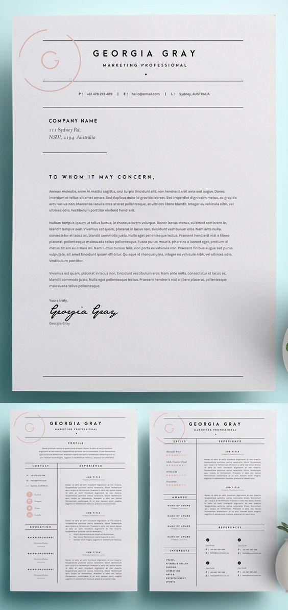 Beautiful Simple Modern Resume And Cover Letter Template With A