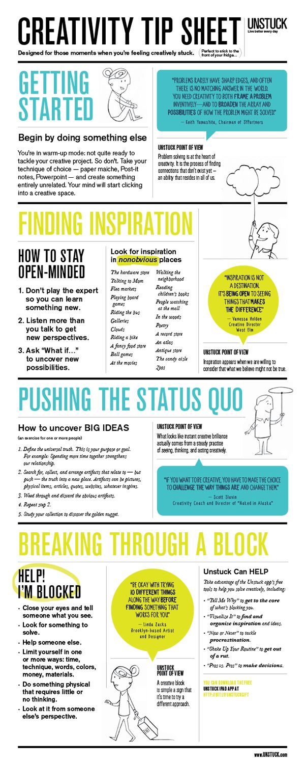 Business Infographic From Unstuck Creativity Tip Sheet