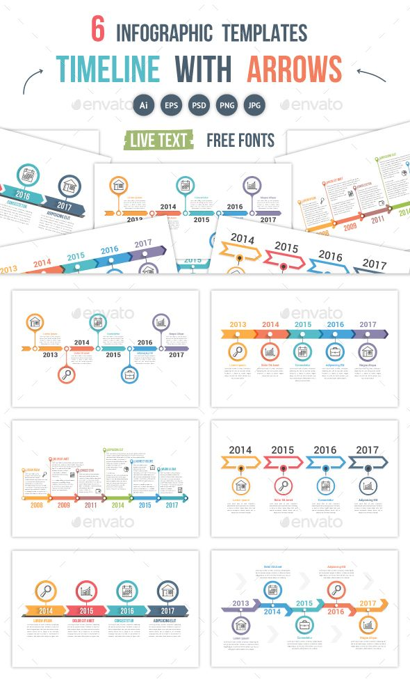 business infographic timelines with arrows infographics