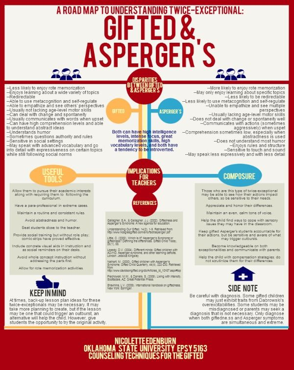 Twice Exceptional Kids Both Gifted And >> Educational Infographic Gifted And Asperger S A Roadmap To