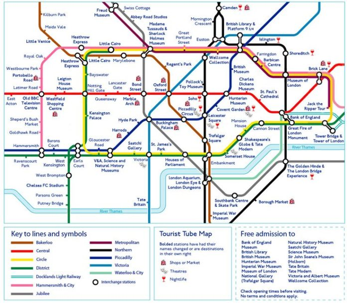 Travel Map London.Travel Infographic Tourist Tube Map Of London Infographicnow Com