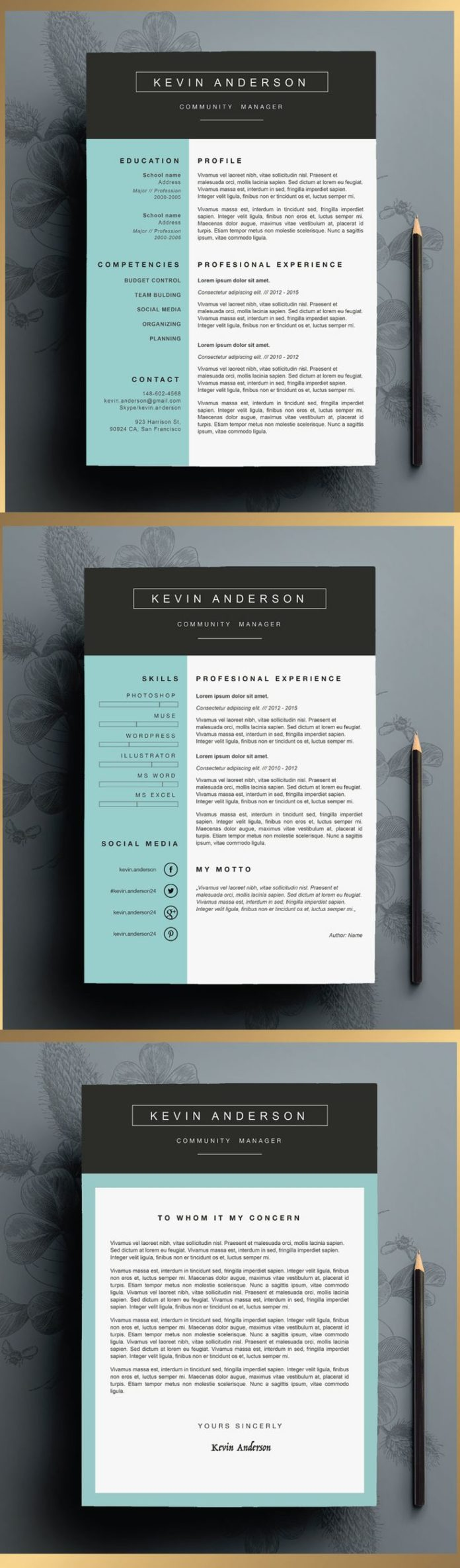 business infographic   stylish resume template editable in