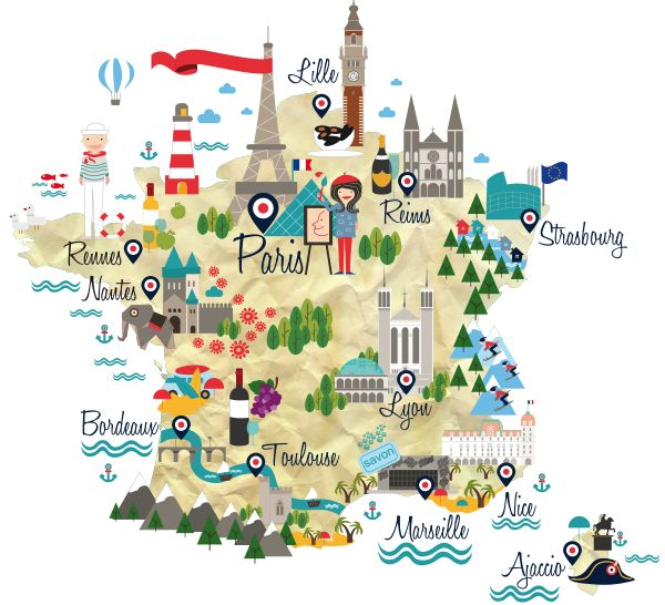 Map Of France In French Language.Educational Infographic Map Of France For French Language Course