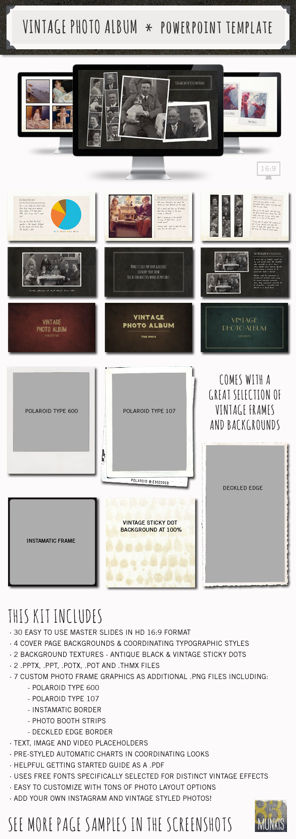 discover vintage photo album powerpoint template your number one source. Black Bedroom Furniture Sets. Home Design Ideas