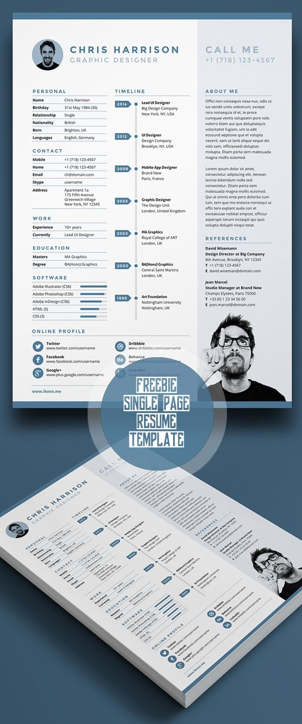 business infographic free single page resume template psd