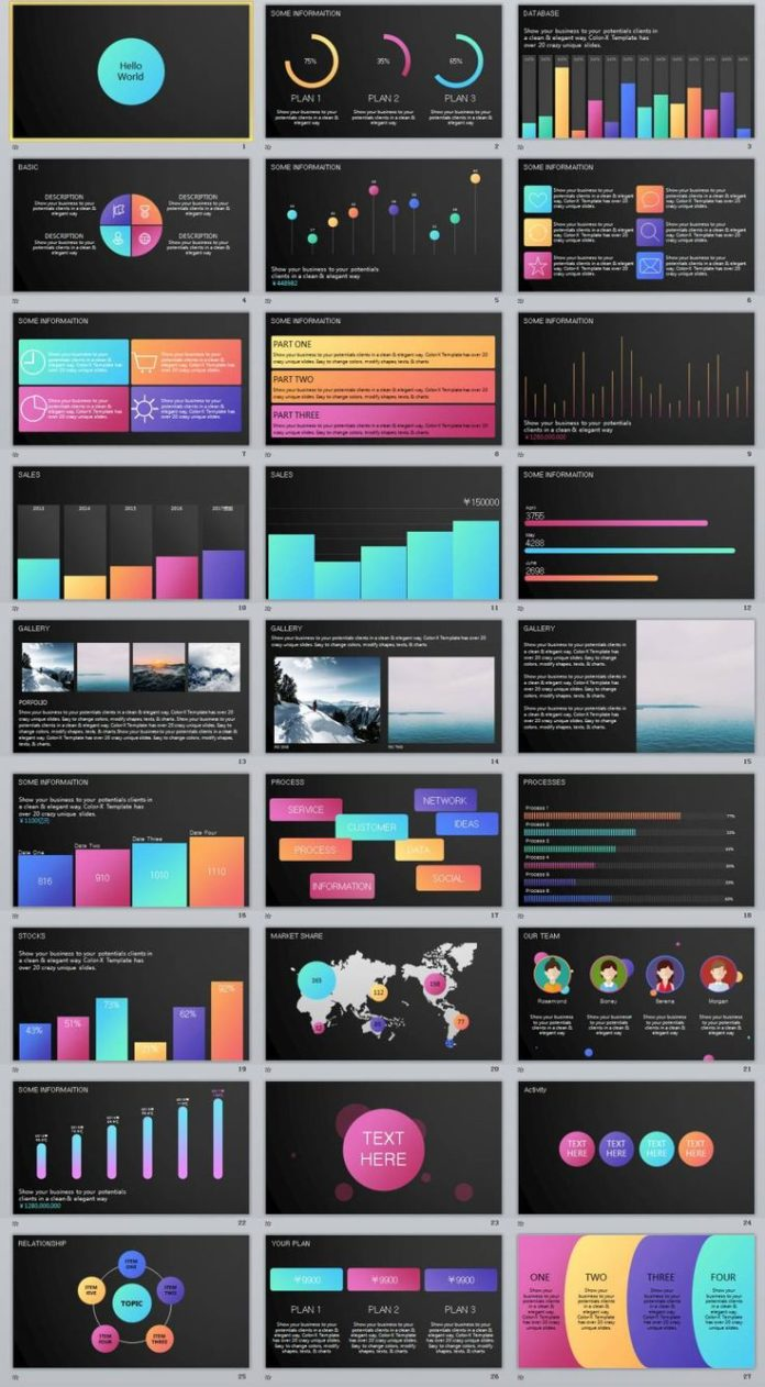 Business infographic : 27+ Multicolor Charts data PowerPoint ...