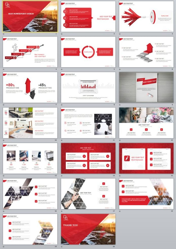 Business infographic 20 red simple slide powerpoint templates on business infographic data visualisation accmission Images