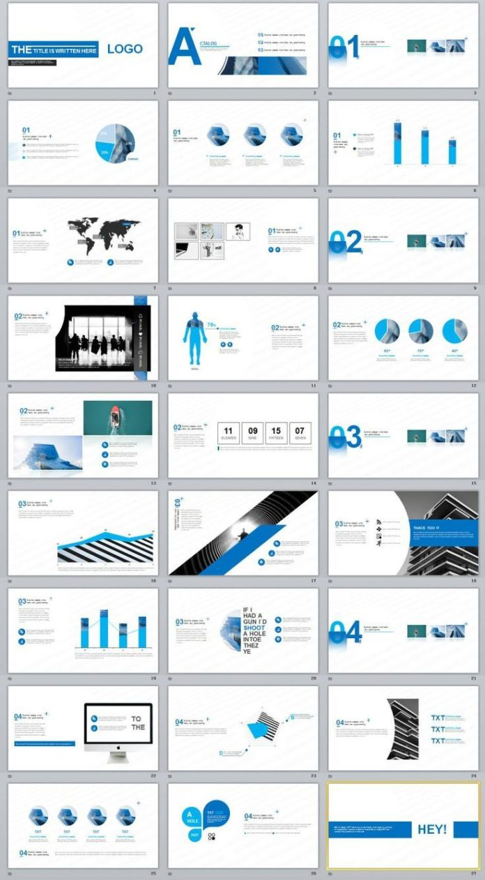 Business Infographic 27 Blue Creative Charts Powerpoint Template