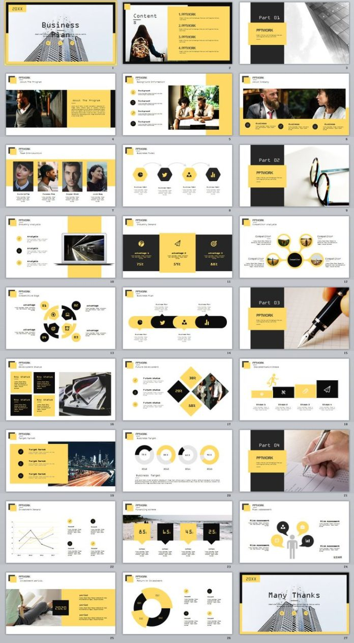 visual style guide template - business infographic 27 yellow business plan report