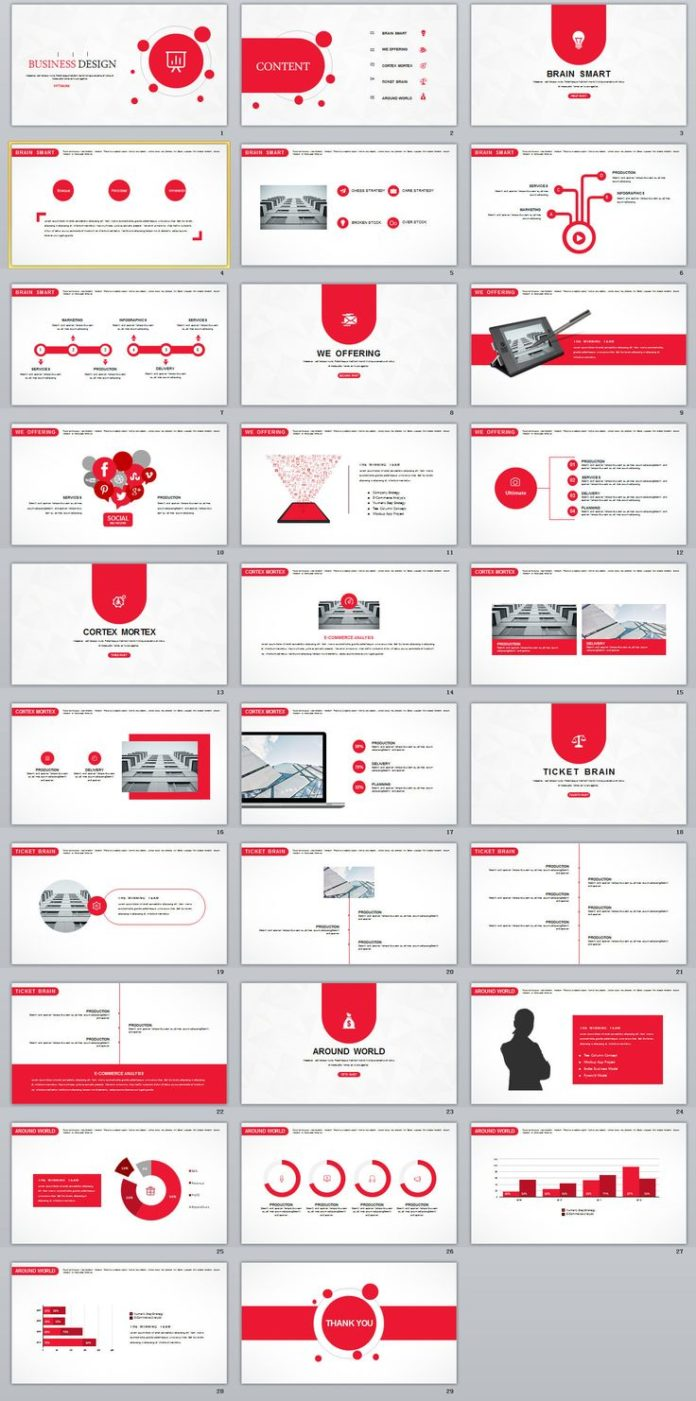 Business infographic 29 red creative business design powerpoint business infographic data visualisation toneelgroepblik Images