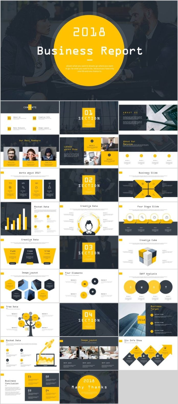 business infographic 27 yellow business year plan powerpoint