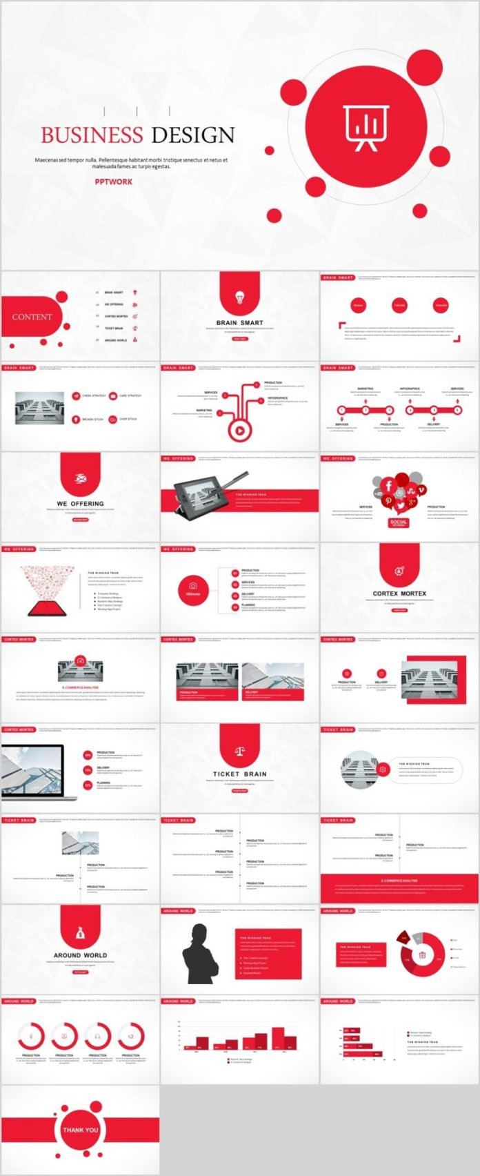 Business Infographic 29 Red Creative Business Design Powerpoint