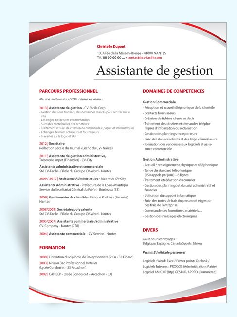 medical infographic   mod u00e8le cv original assistante de gestion