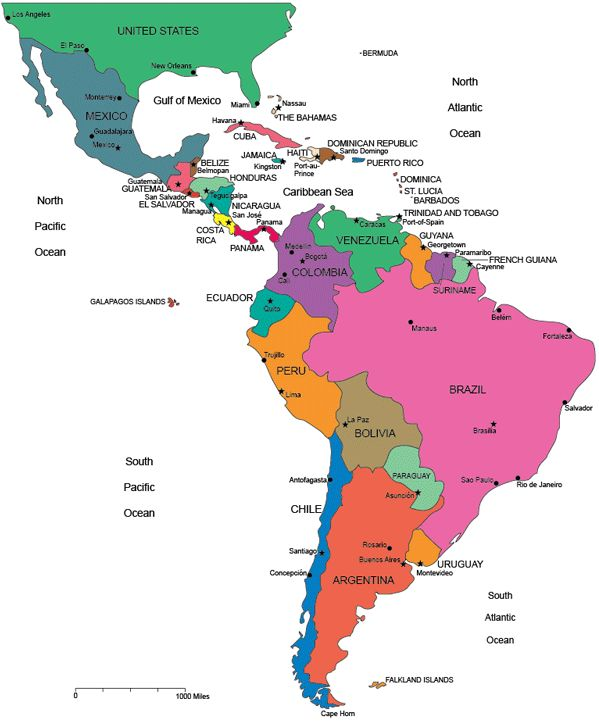 Travel infographic Map of Latin America blank printable South