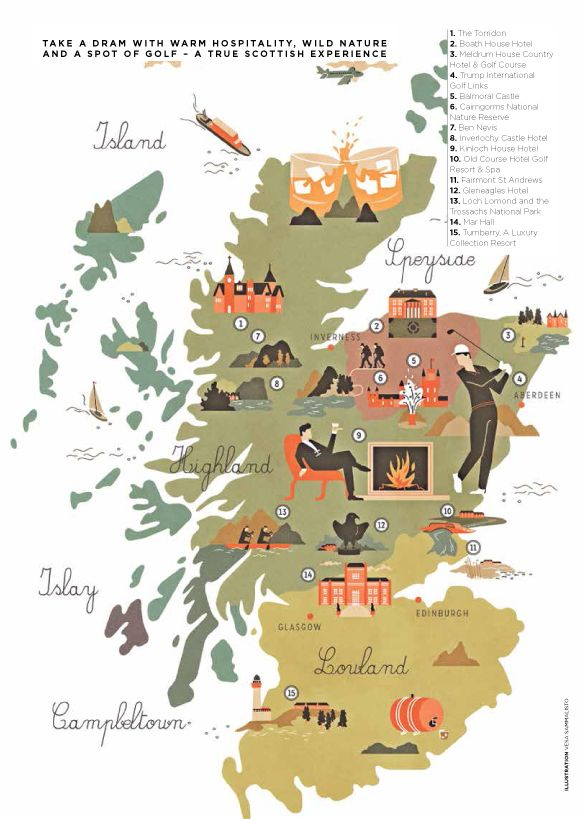 Travel infographic   Scotland Travel Map | Carte illustrée de l