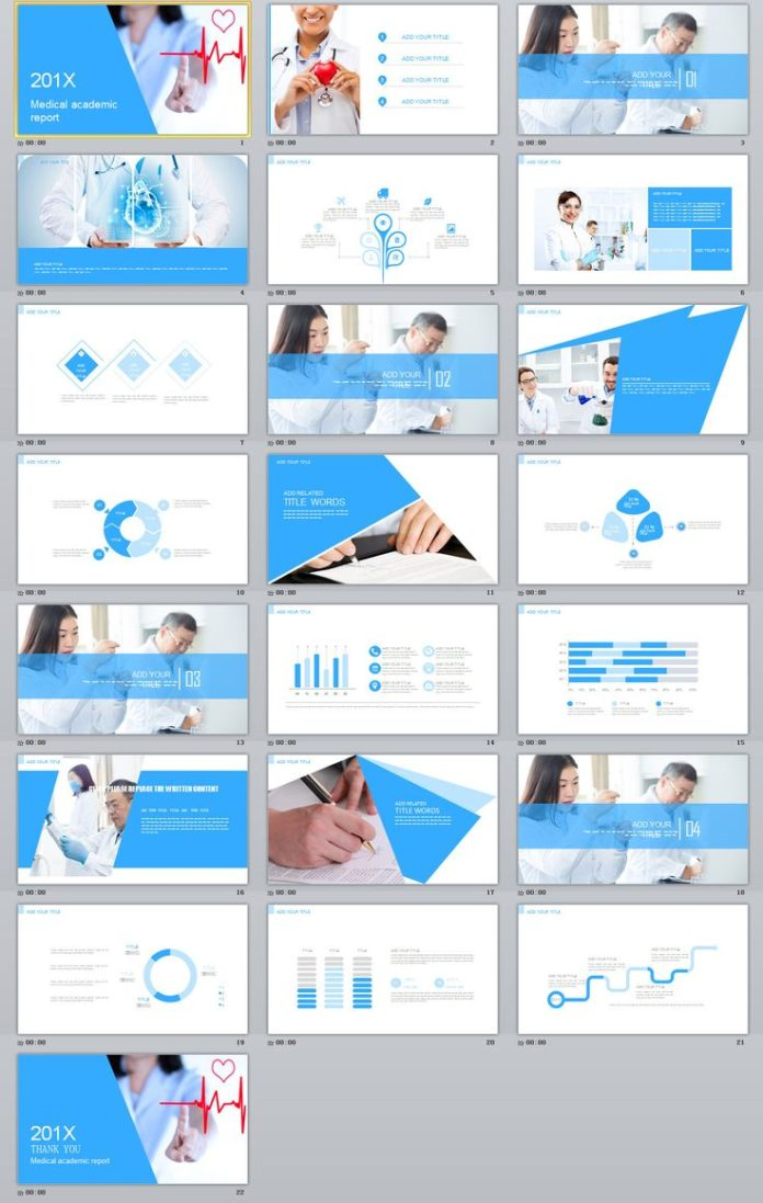 medical infographic blue medical report powerpoint template on