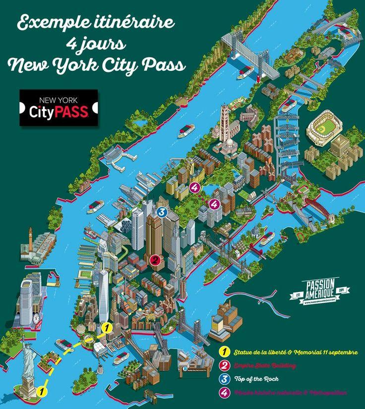 travel infographic  itinéraire new york city pass