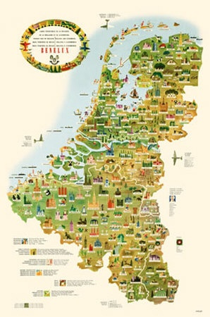tourist map of belgium holland and luxemburg poster