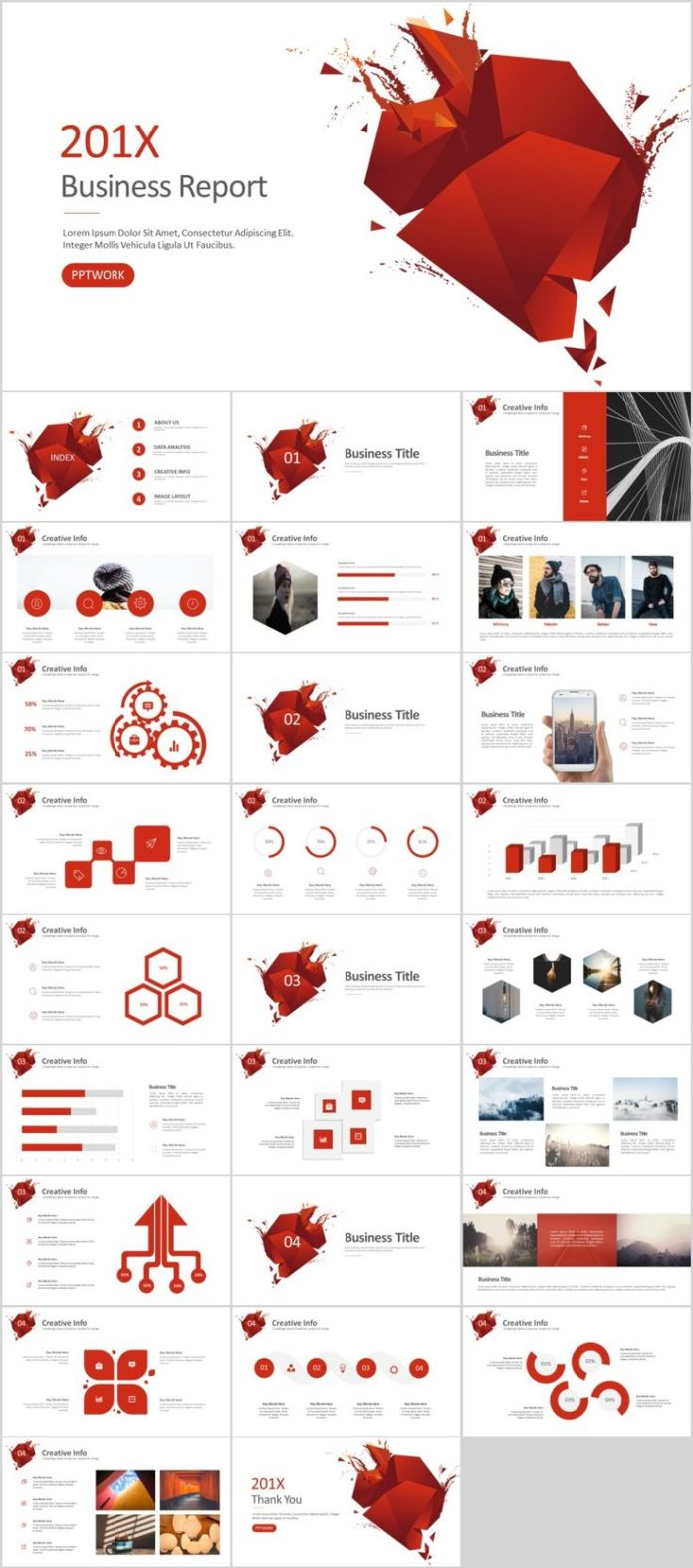 Business Infographic 27 Red Buesiness Powerpoint Presentations