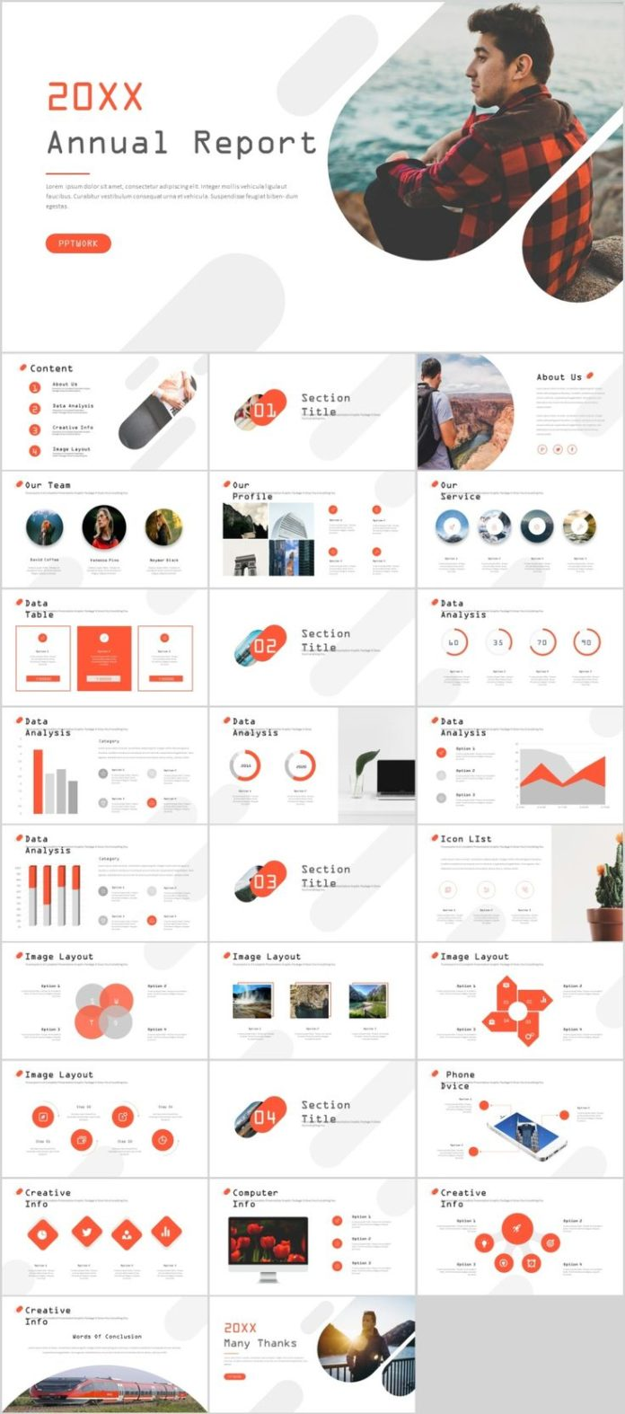 business infographic 27 red creative annual report powerpoint