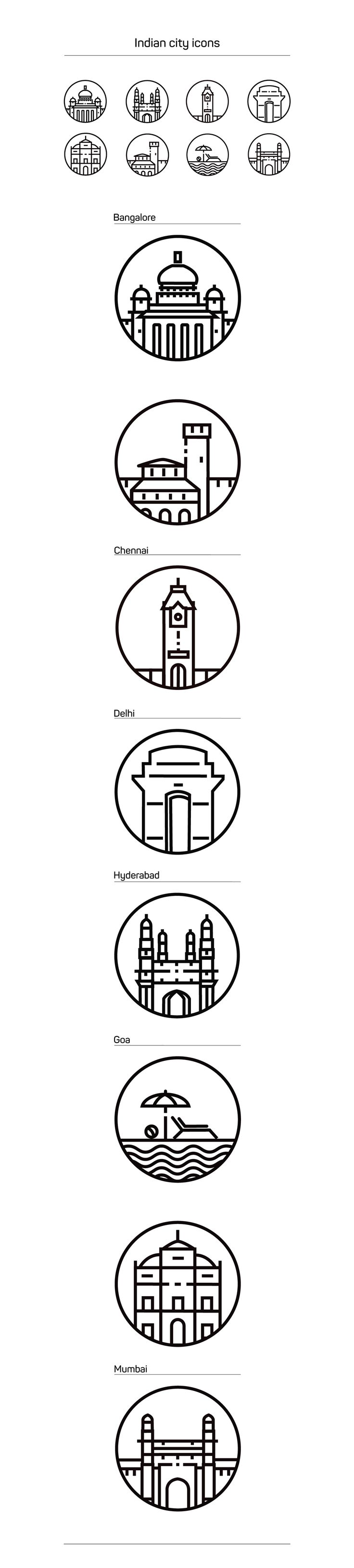 Food infographic - I created these city icons for redBus as