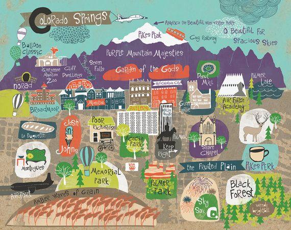 Colorado Map Art.Travel Infographic Map Of Colorado Springs Art Print 11 X 14 Wendy
