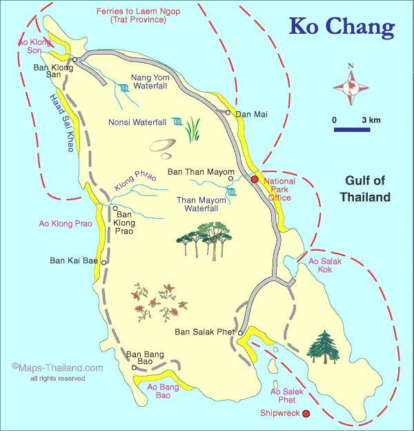 Travel infographic - map of koh chang, thailand travel map ...