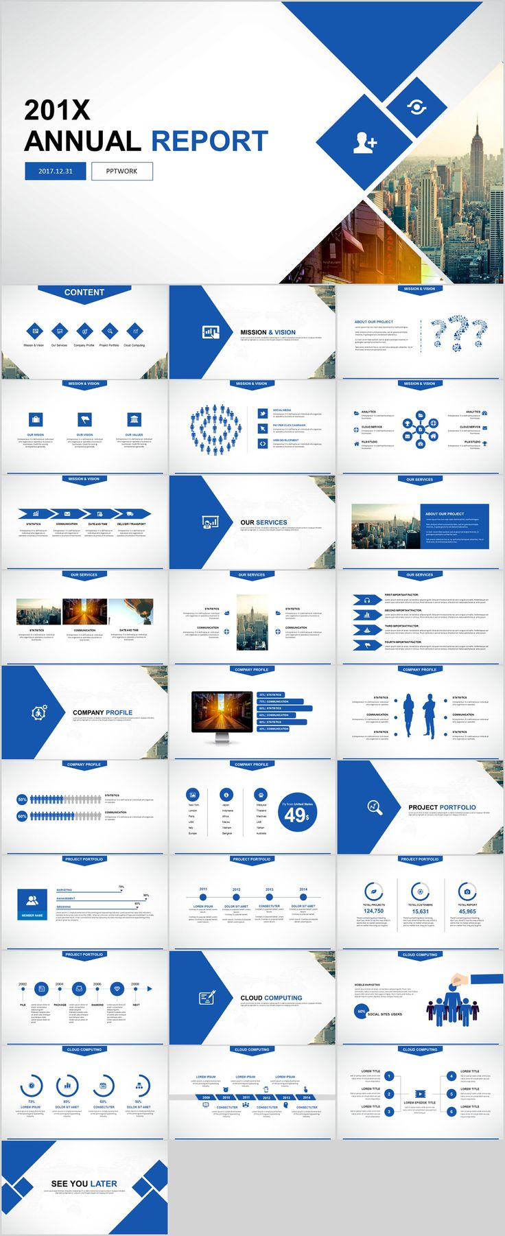 Business Infographic 29 Blue Annual Report Presentation