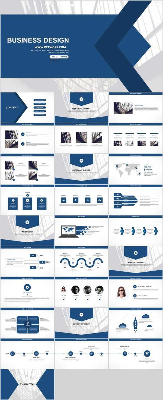 Business Infographic 29 Blue White Business Report Powerpoint