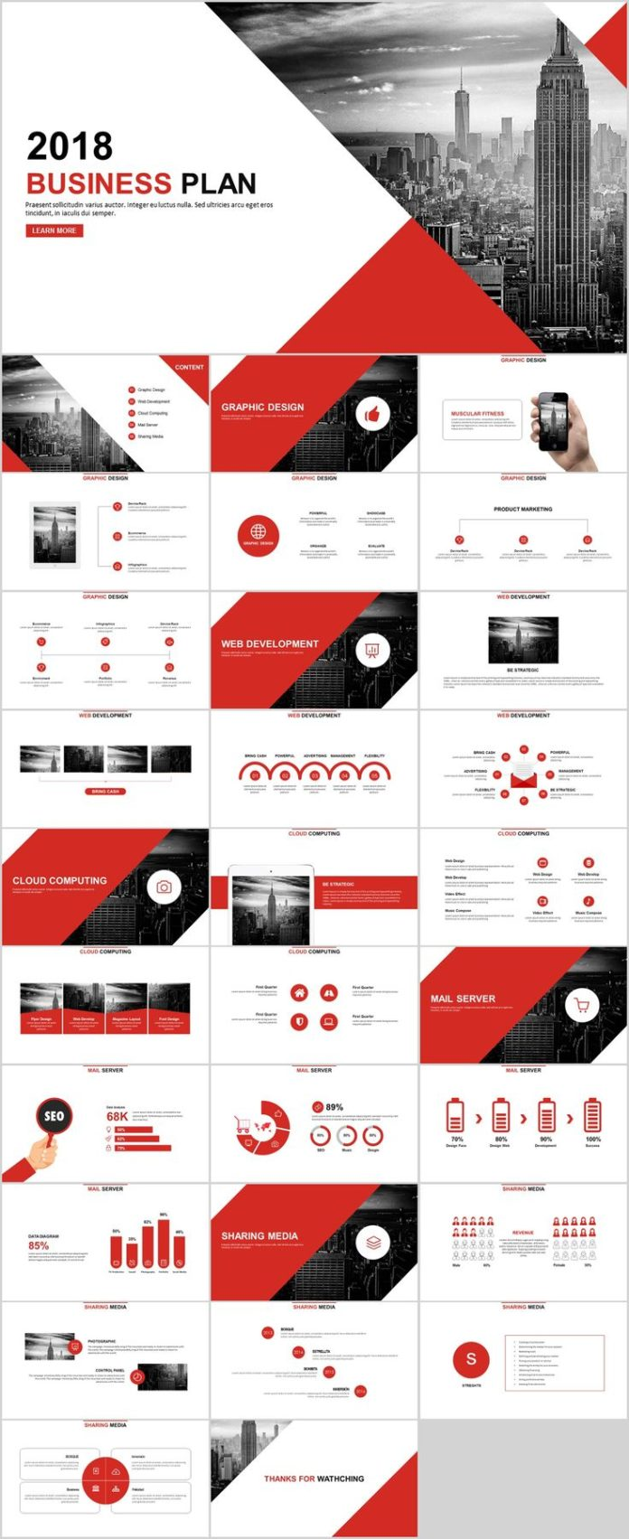 business infographic 30 red year report charts powerpoint