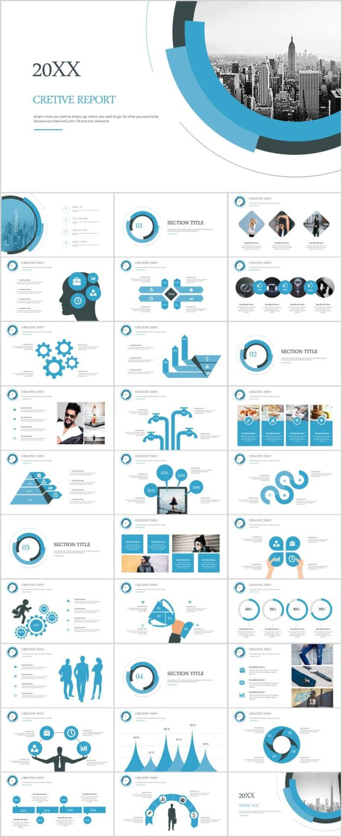 business infographic 31 blue creative annual report powerpoint
