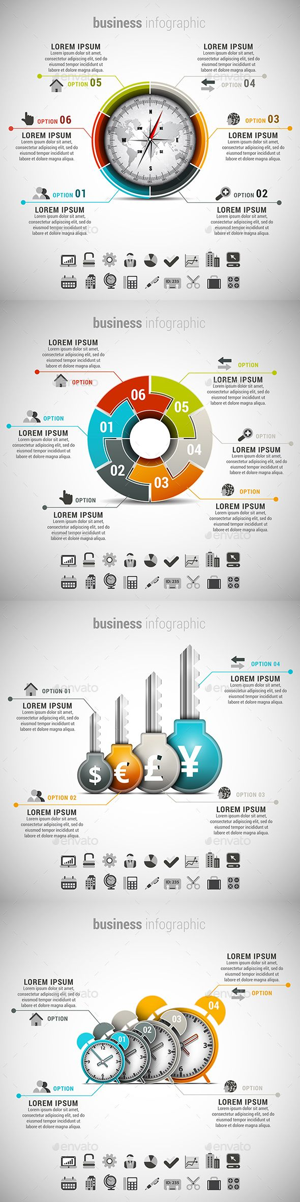 Business infographic : 4 in 1 Business Infographics Template