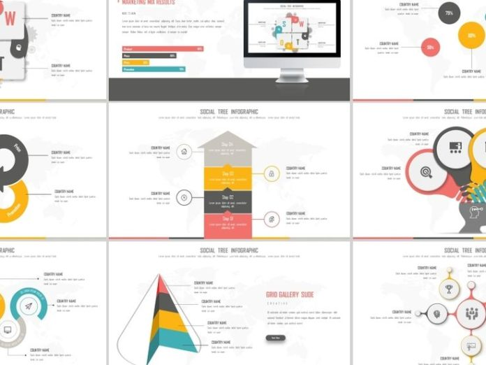 business infographic best social tree infotraphic powerpoint
