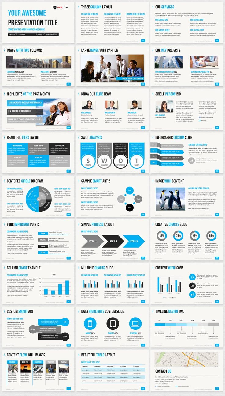 Business Infographic Business Powerpoint Template Blue Slide