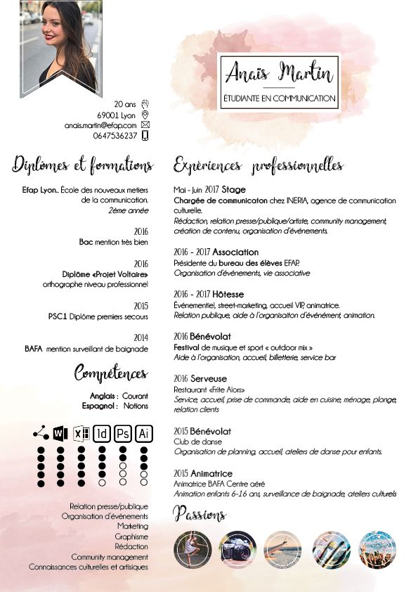 business infographic   cv cr u00e9atif original artistique artisitic  u00e9tudiant communication stage