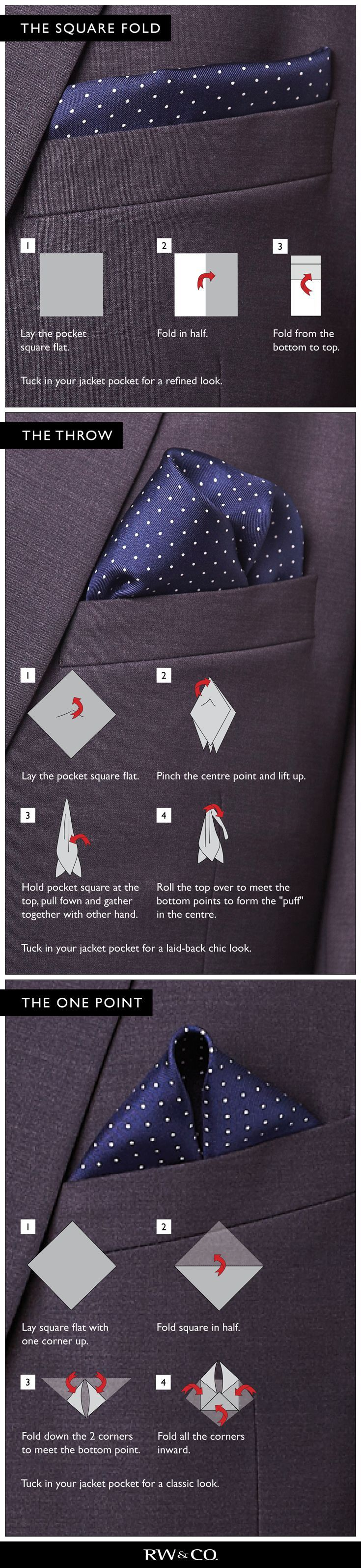 Fashion Infographic How To Fold The Perfect Pocket Square Style