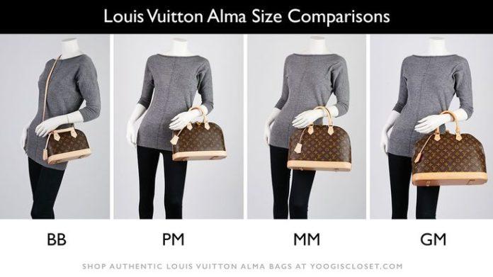 fashion infographic louis vuitton bag sizes bb pm mm gm
