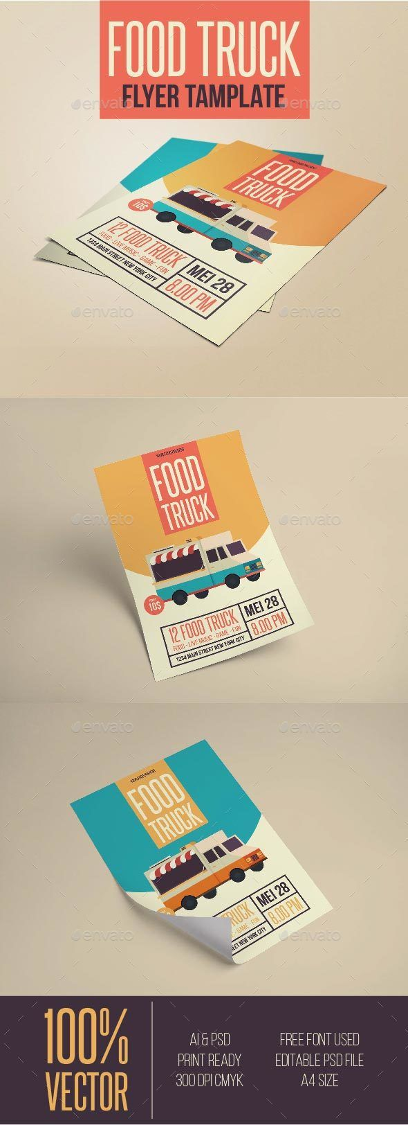 Food Infographic Food Truck Flyer Template PSD AI Illustrator - Food truck flyer template