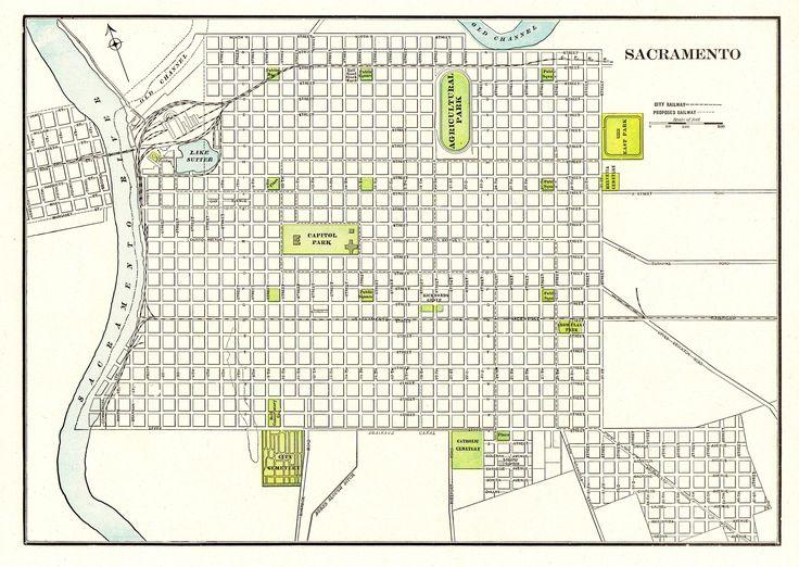 Travel Infographic 1901 Antique Sacramento City Map Reproduction