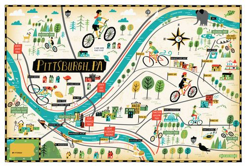 Travel infographic - Bicycle Times | Bike map of Pittsburgh, PA ...