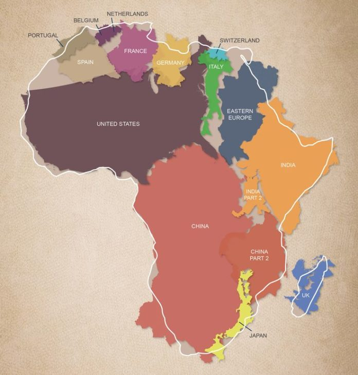 Map Of Africa To Scale.Travel Infographic The True Size And Scale Of The African