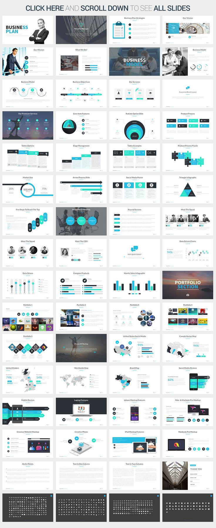 business infographic : business plan google slides template by