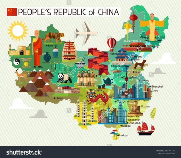 Travel Infographic Map Of China And Travel Icons China Travel Map