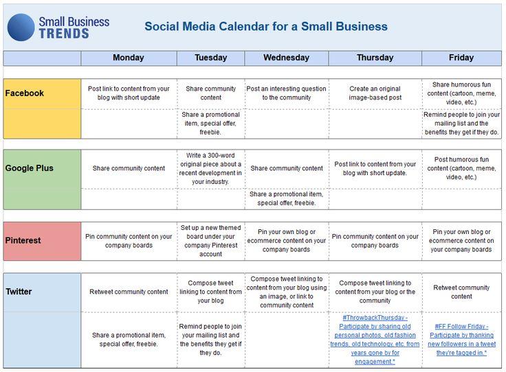 Social Media Calendar Template For Small Business Infographicnow
