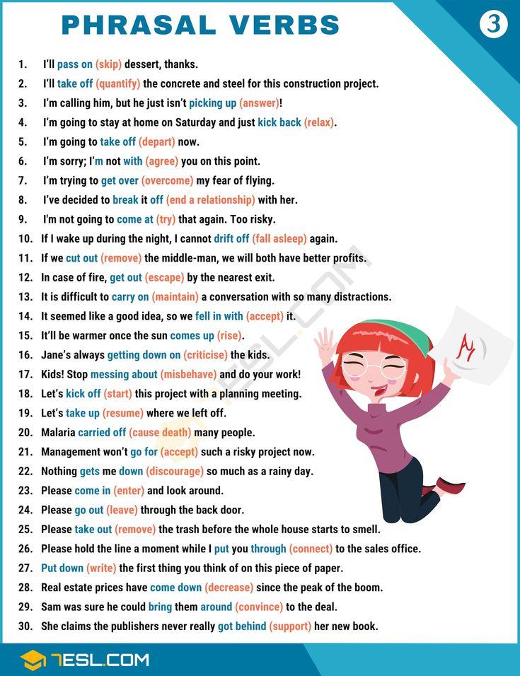 Educational infographic : 2000+ Common Phrasal Verbs List
