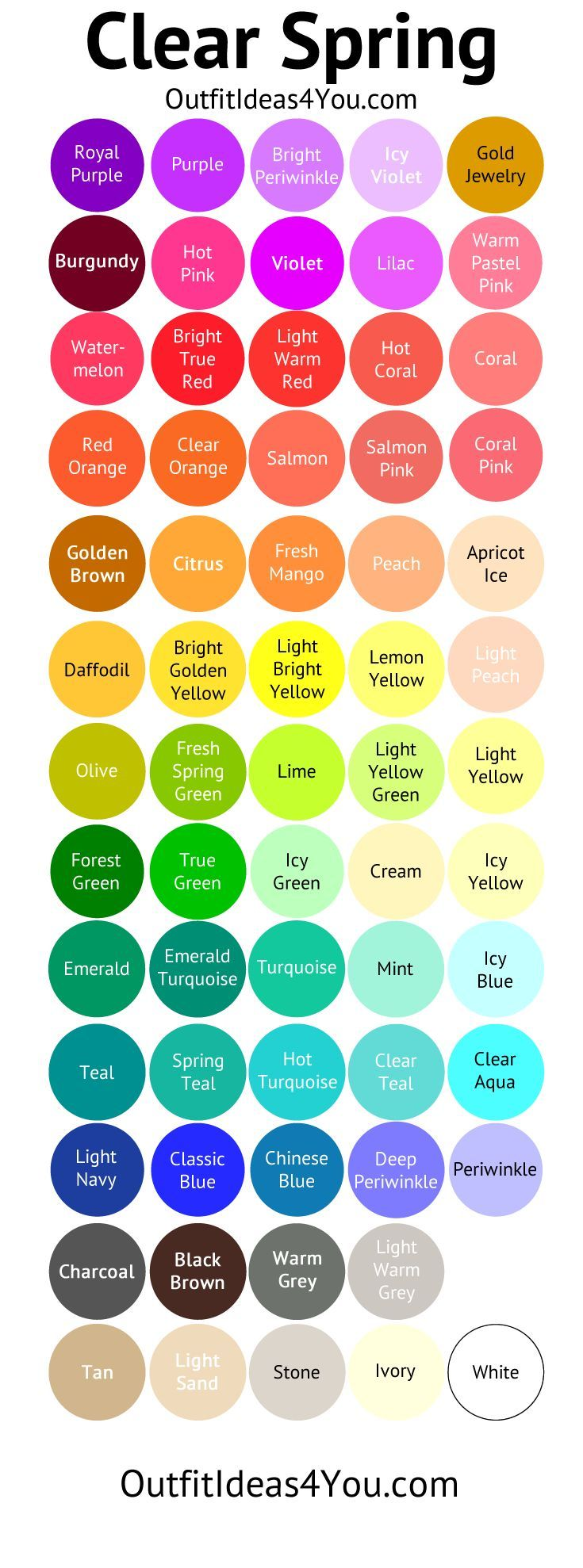 Fashion infographic : Bright Warm & Light Color Palette