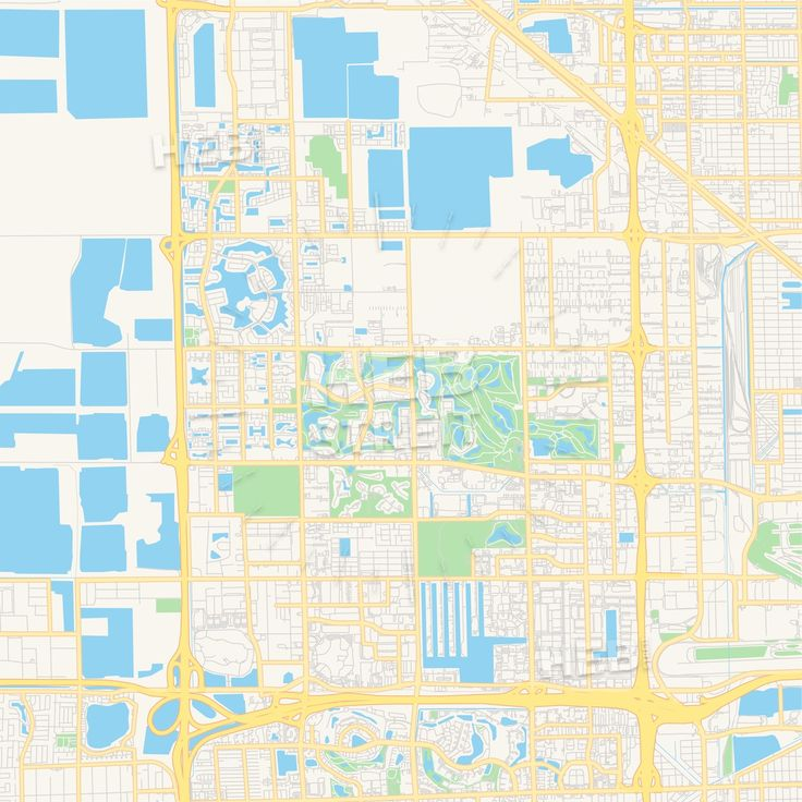 Travel infographic - Empty vector map of Doral, Florida, USA ... on