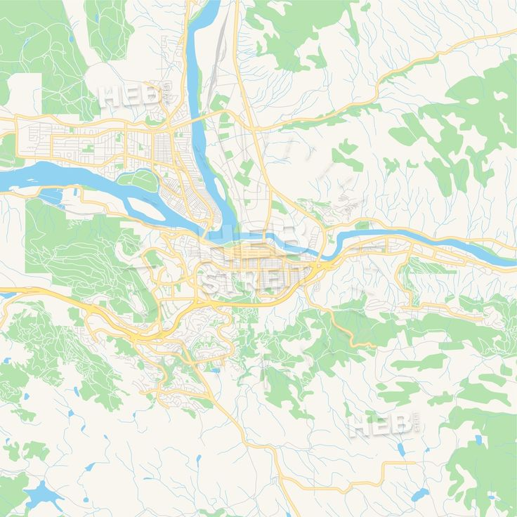 Map Of Canada Showing Kamloops.Travel Infographic Empty Vector Map Of Kamloops British Columbia