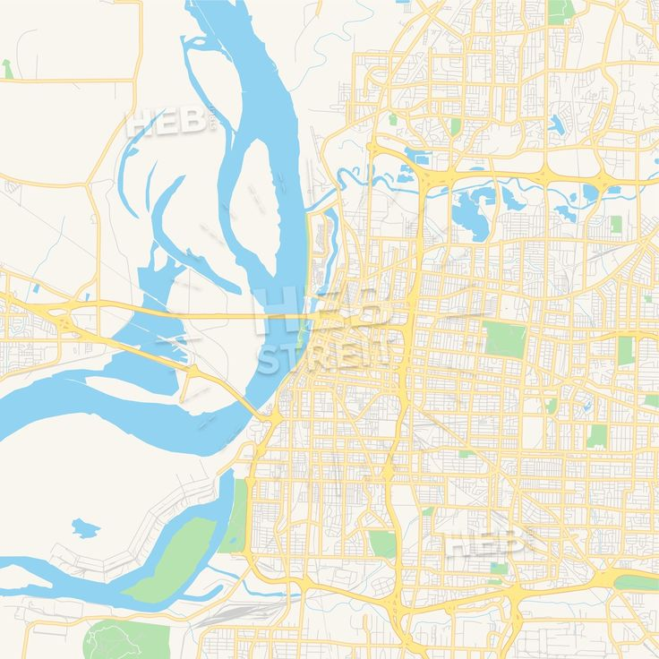 Travel infographic - Empty vector map of Memphis, Tennessee ...