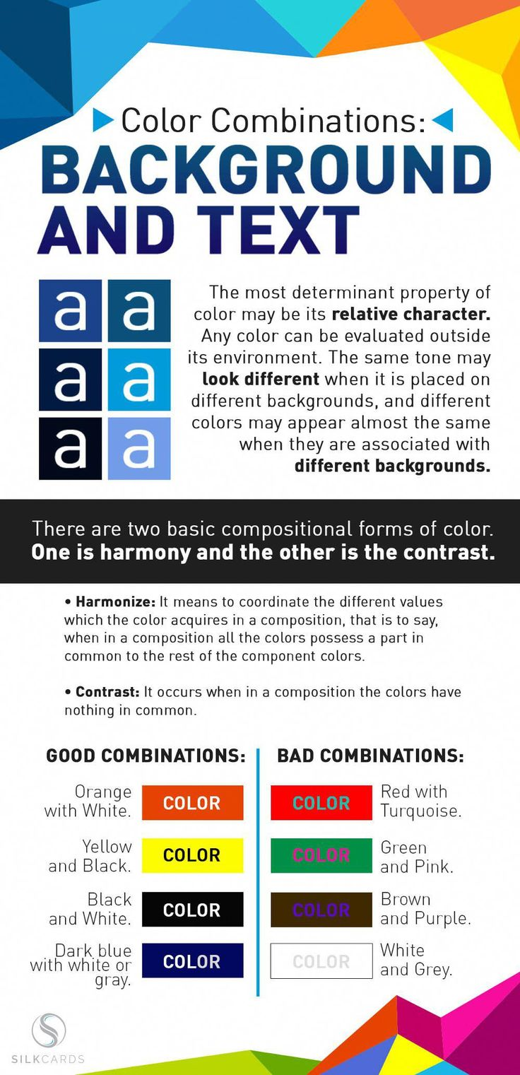 Psychology : Combine colors like a pro designer! Background / text colors work best when they... - InfographicNow.com | Your Number One Source For daily infographics & visual creativity